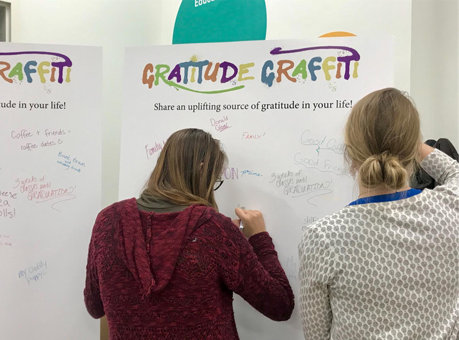 Students filling in a Gratitude Graffiti Tri-Fold