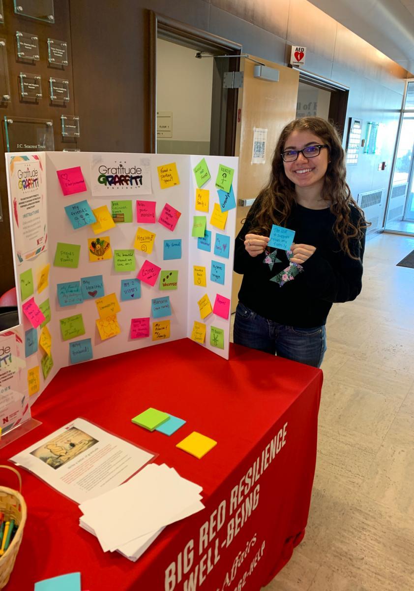 A Student presenting a Gratitiude Graffiti Tri-Fold