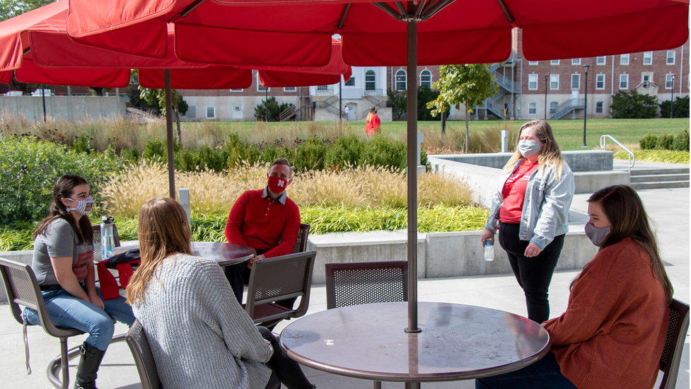 Students gather outside the Willa Cather Dining Center